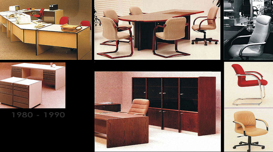 Desks, cabinets and seating designed for Framac Industries.
