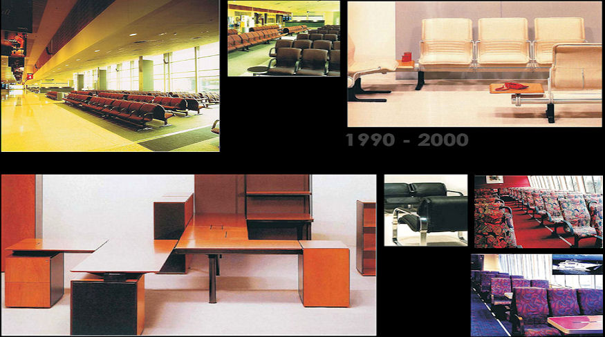 "1990 – Airport seating for Qantas, still used in major Australian Airports. ""Data Beams"" office."
