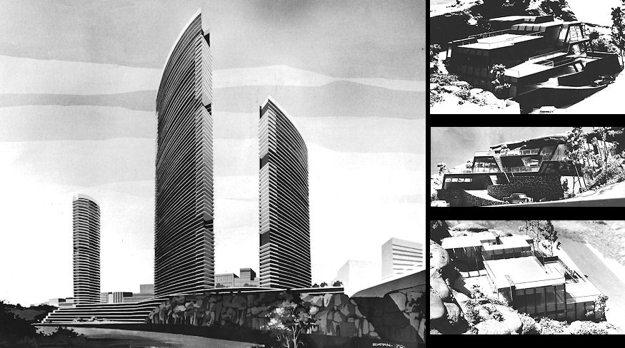 1967 - 1977, One of many designs for multi story office buildings and a private residence for Sydney.