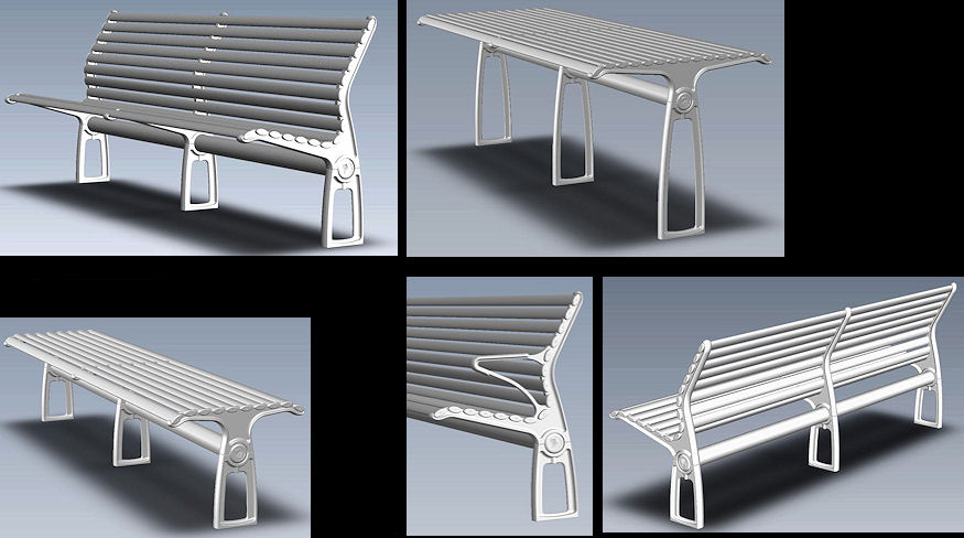 2009, Bolt down robust Urban Furniture made from cast and extruded aluminium.