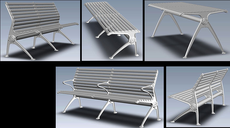 2009, Free standing robust Urban Furniture made from cast and extruded aluminium.