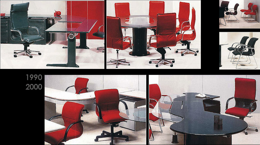 Desks, tables and seating designed for Maxton Fox Commercial Furniture.